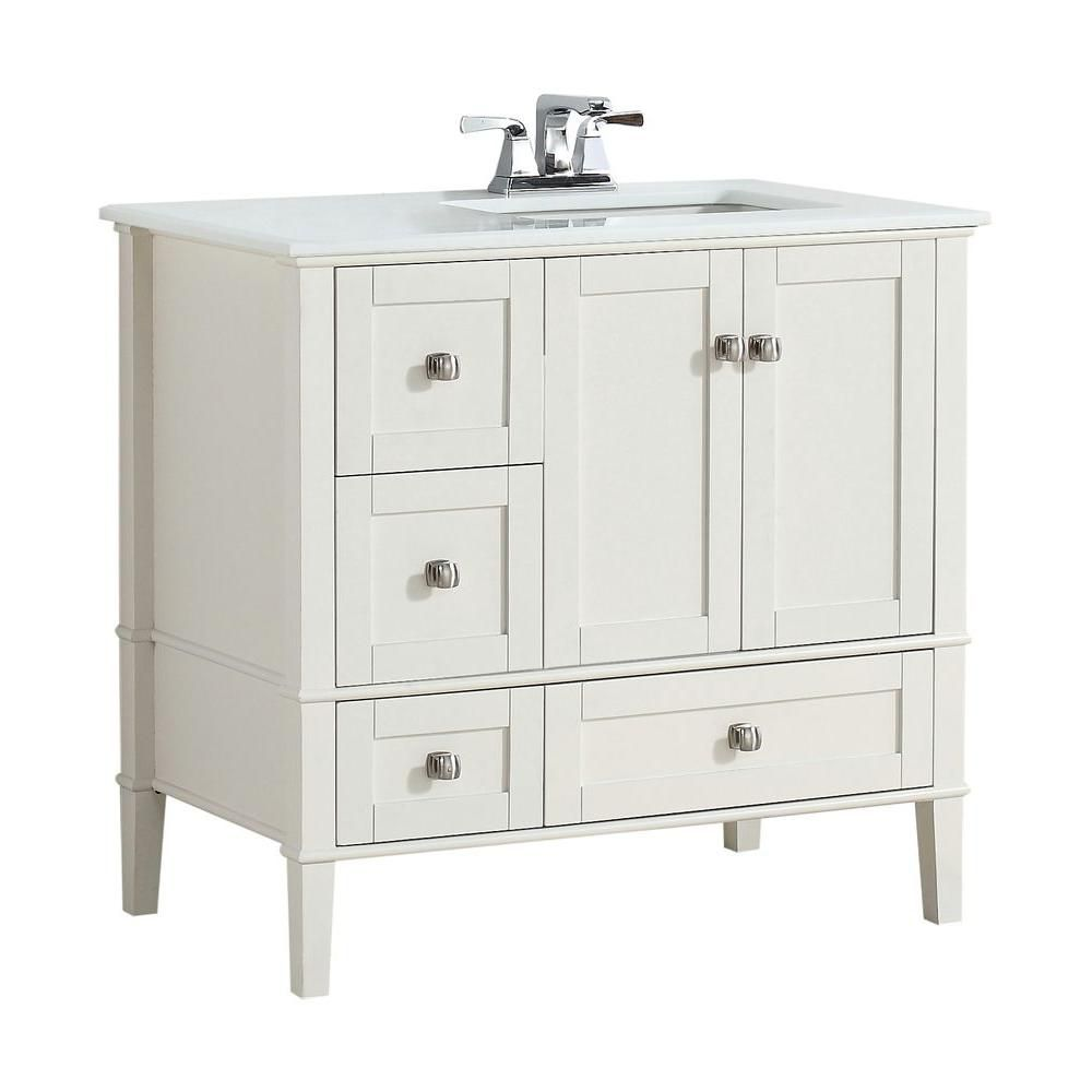 Simpli Home Chelsea 36-inch Vanity in Soft White with Quartz Marble Vanity Top in White and Right Off Set Sink