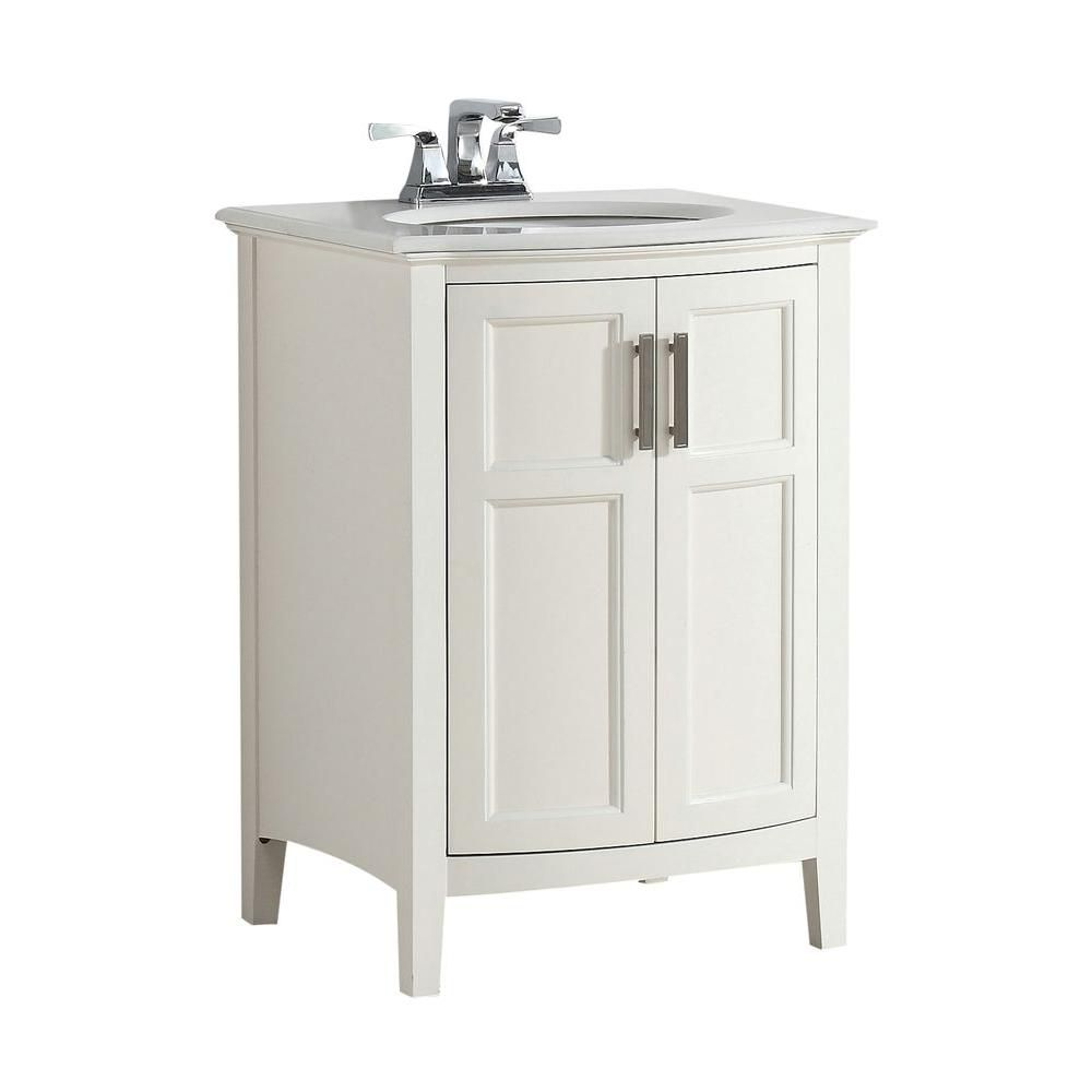 Winston 24-inch W Rounded Front Vanity in Soft White with Quartz Marble Top