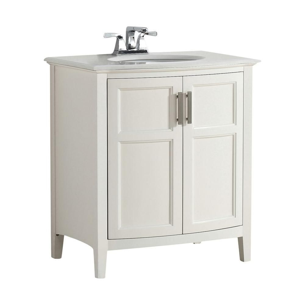 Winston 30-inch W Vanity in Soft White with Quartz Marble Top in White