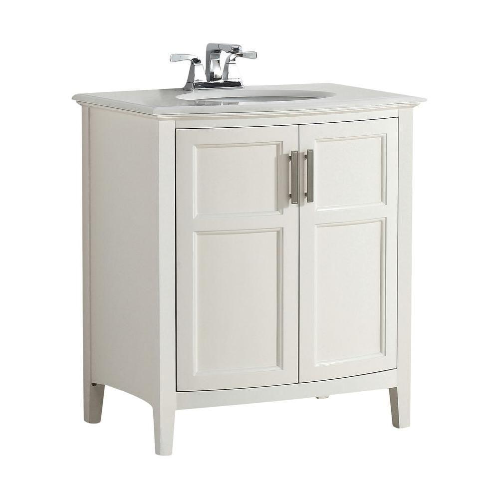 Winston 31-inch W 2-Door Freestanding Vanity in White With Quartz Top in White