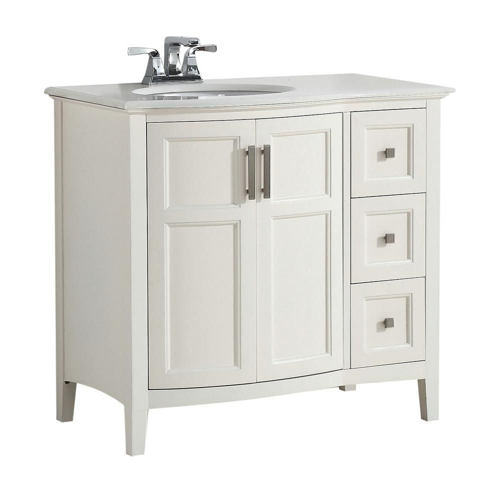 Winston 37-inch W 3-Drawer 2-Door Freestanding Vanity in White With Quartz Top in White