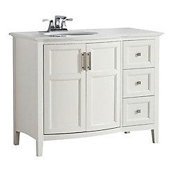 Winston 43-inch W 3-Drawer 2-Door Freestanding Vanity in White With Quartz Top in White