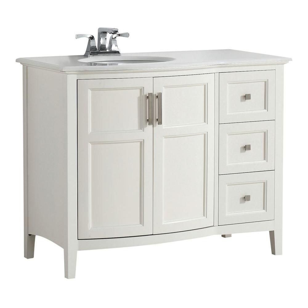 Winston 42-inch W Rounded Front Vanity in Soft White with Quartz Marble Top