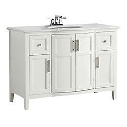 Winston 49-inch W 2-Drawer 2-Door Freestanding Vanity in White With Quartz Top in White