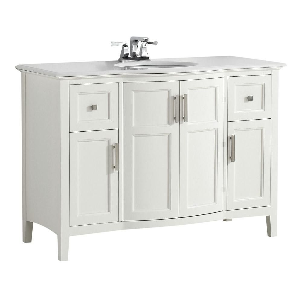 Winston 48-inch W Vanity in Soft White with Quartz Marble Top in White