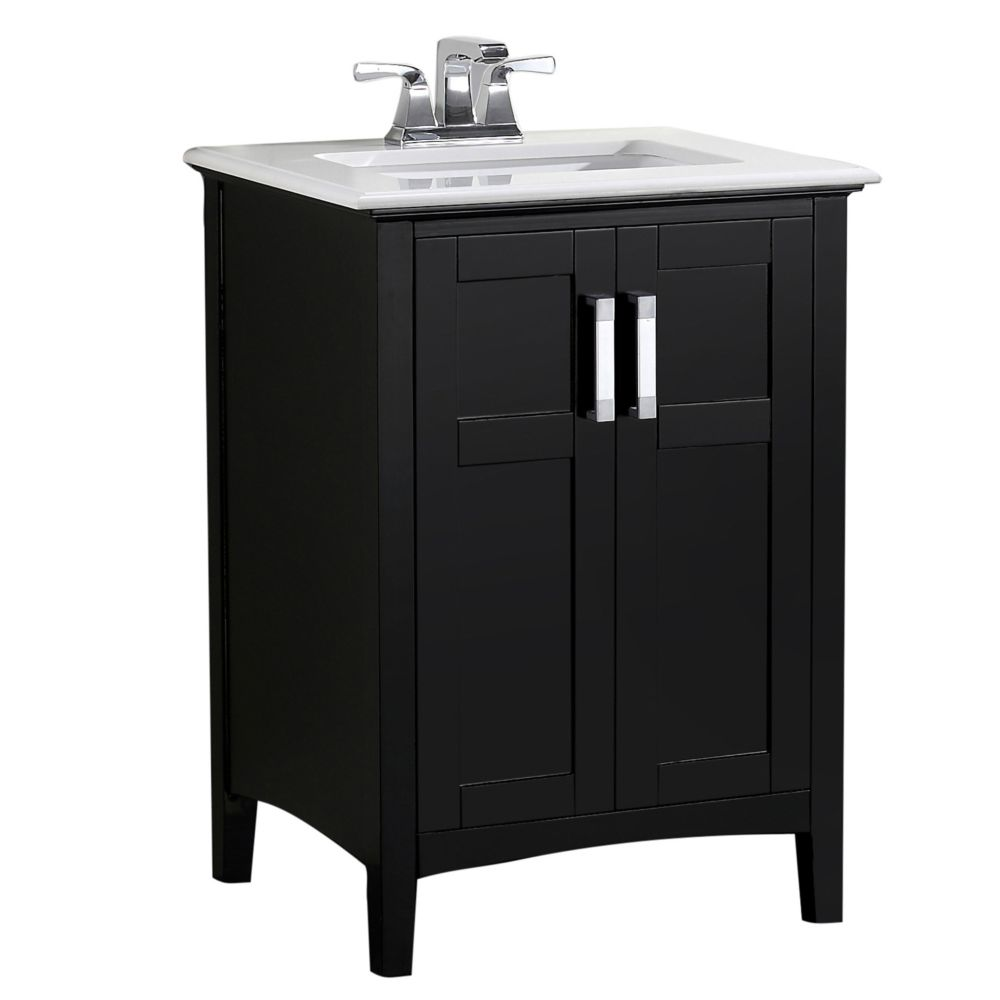 Winston 24-inch W Vanity in Black with Quartz Marble Top in White