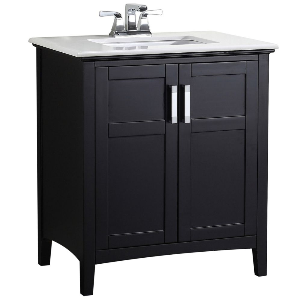 Winston 30-inch W Vanity in Black with Quartz Marble Top in White