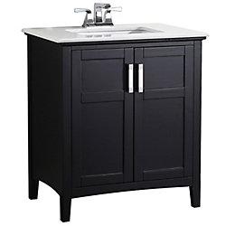 Winston 31-inch W 2-Door Freestanding Vanity in Black With Quartz Top in White