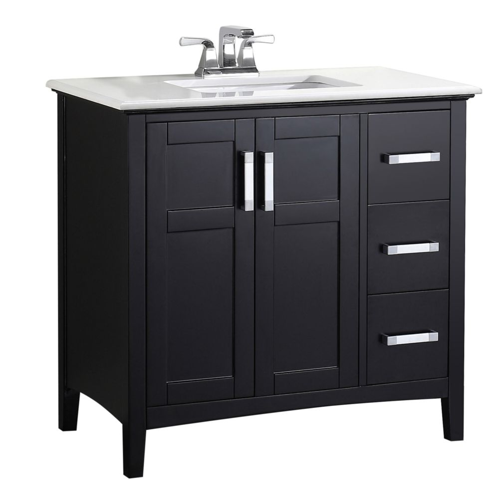 Winston 36-inch W Vanity in Black with Quartz Marble Top in White
