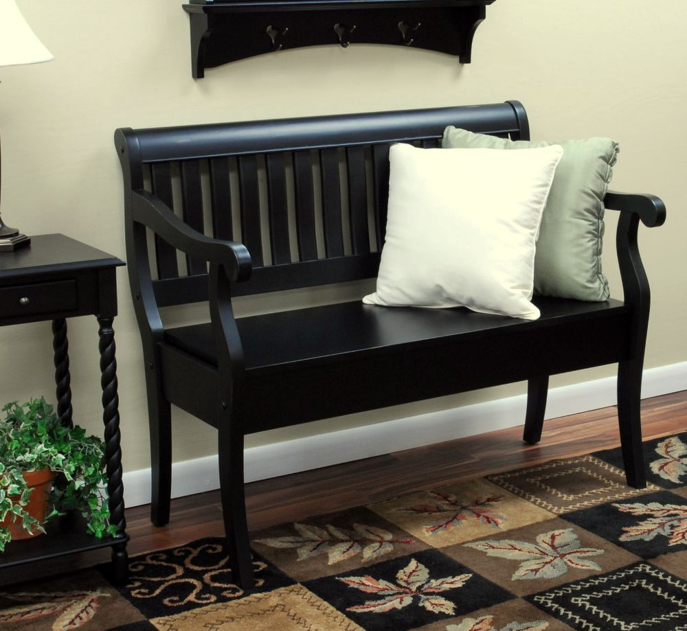 carolina classics banc de rangement veranda noir ancien home depot canada. Black Bedroom Furniture Sets. Home Design Ideas