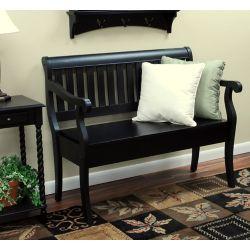 Carolina Classics Veranda 42.38-inch x 35.25-inch x 22.38-inch Solid Wood Frame Bench in Black