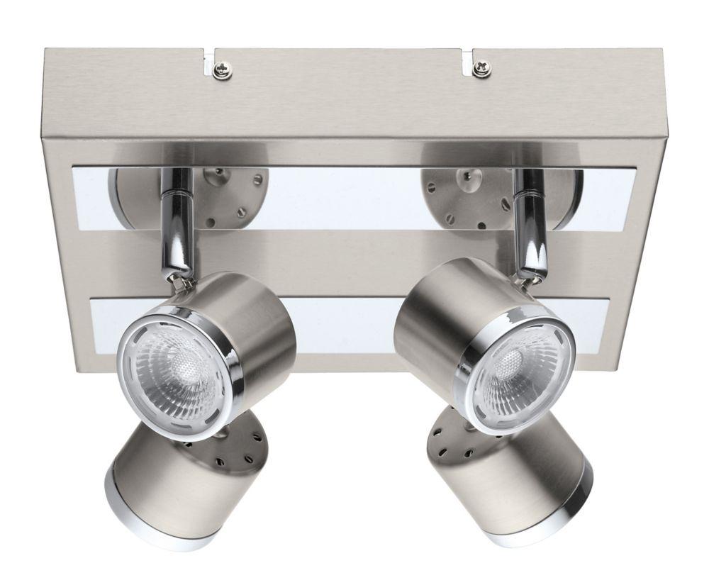 Pierino Plafonnier DEL 4L, Fini Nickel Mat et Chrome