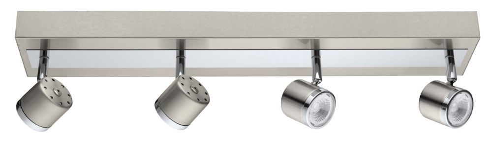 Pierino LED Track Light 4L, Matte Nickel & Chrome Finish