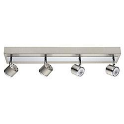 Eglo Pierino Luminaire sur Rail DEL 4L, Fini Nickel Mat et Chrome