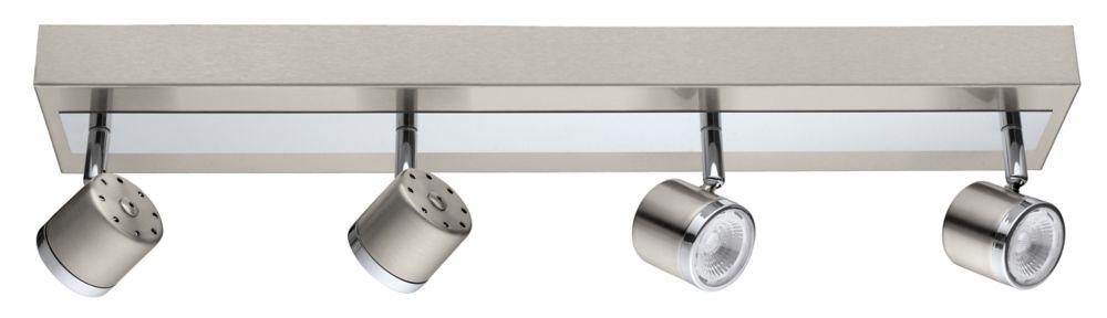 Pierino Luminaire sur Rail DEL 4L, Fini Nickel Mat et Chrome