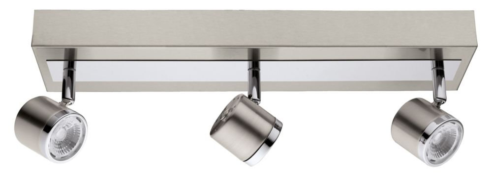 Pierino LED Track Light 3L, Matte Nickel & Chrome Finish