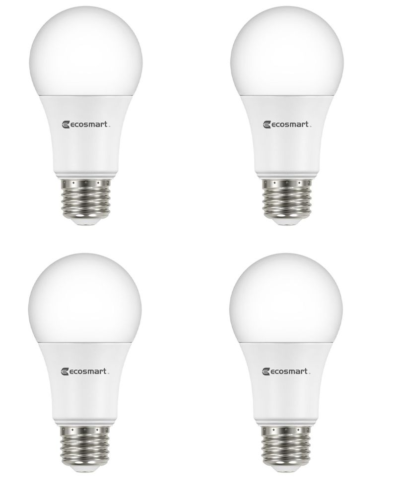 60W Equivalent Bright White (3000K) A19 Dimmable LED Light Bulb (4-Pack)