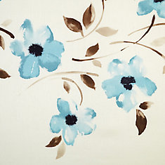 Blue, floral printed faux silk curtain, Light filtering, Grommet, 52 Inch x 84 Inch
