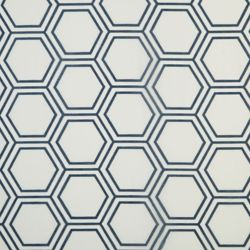 Home Decorators Collection Blue, hexagon printed burnout curtain, Semi-sheer, Grommet, 52 Inch x 84 Inch