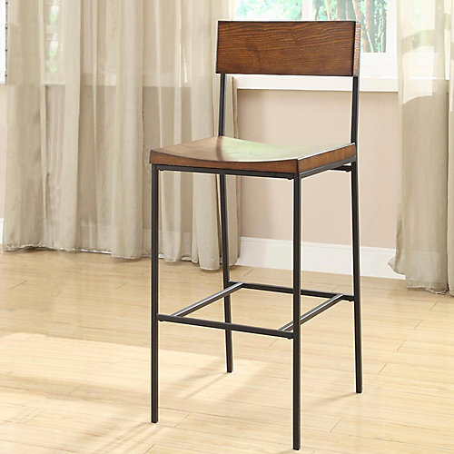 Berkshire Solid Wood Brown Traditional Full Back Bar Stool with Brown Solid Wood Seat