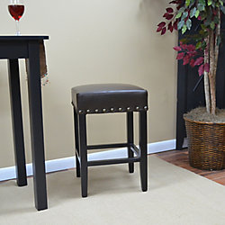 Carolina Classics Romero Solid Wood Brown Traditional Backless Armless Bar Stool with Brown Faux Leather Seat