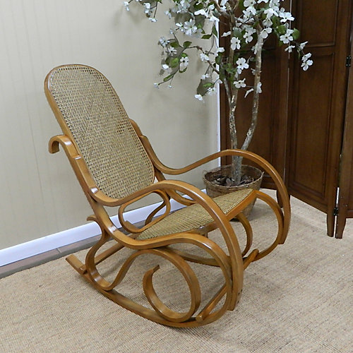 Victoria Solid Wood Rocking Chair in Brown