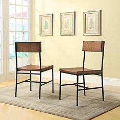 Berksire Solid Wood Brown Slat Back Armless Dining Chair with Brown Solid Wood Seat - (Set of 2)