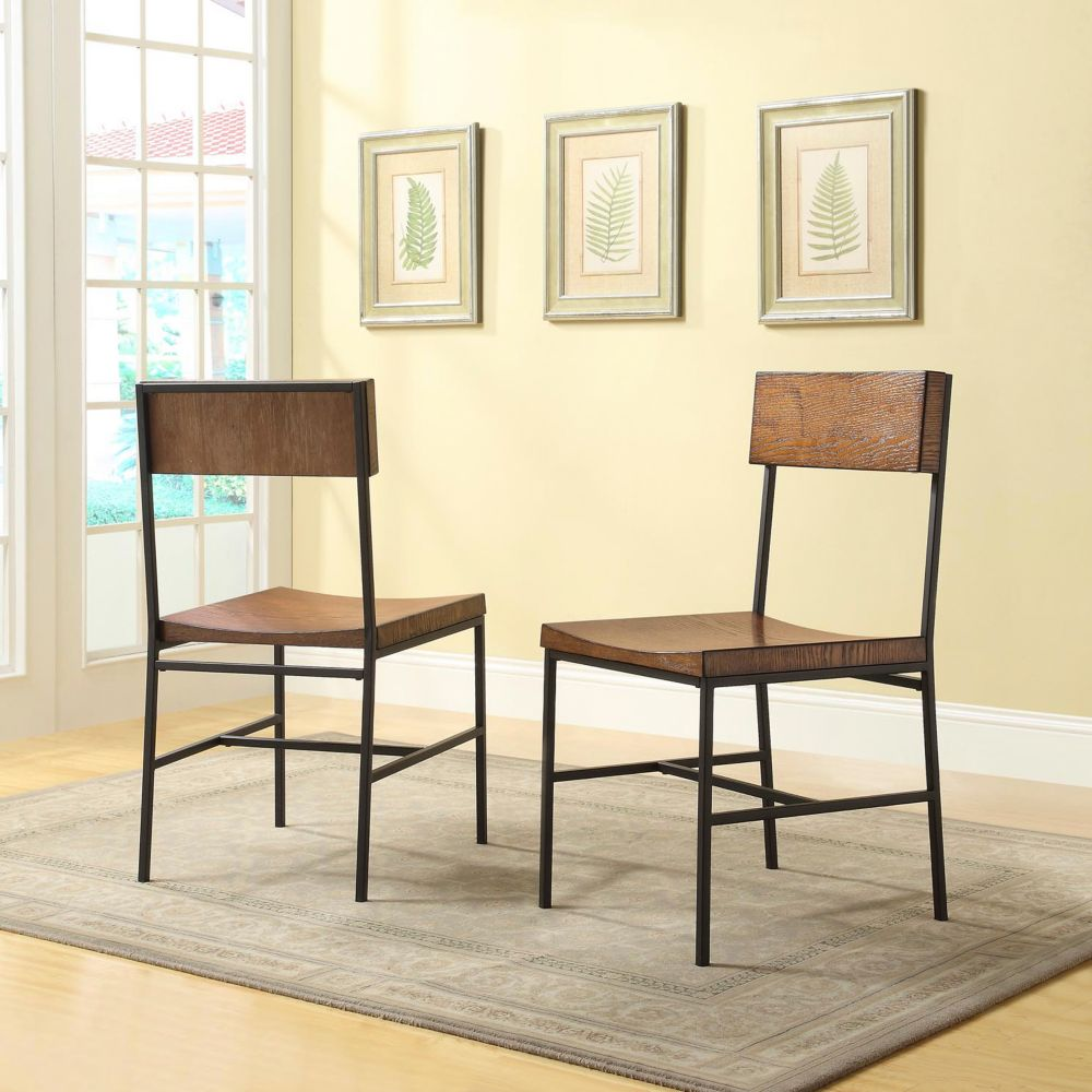 Carolina Forge Berksire Solid Wood Brown Slat Back Armless Dining Chair with Brown Solid Wood Seat - Set of 2