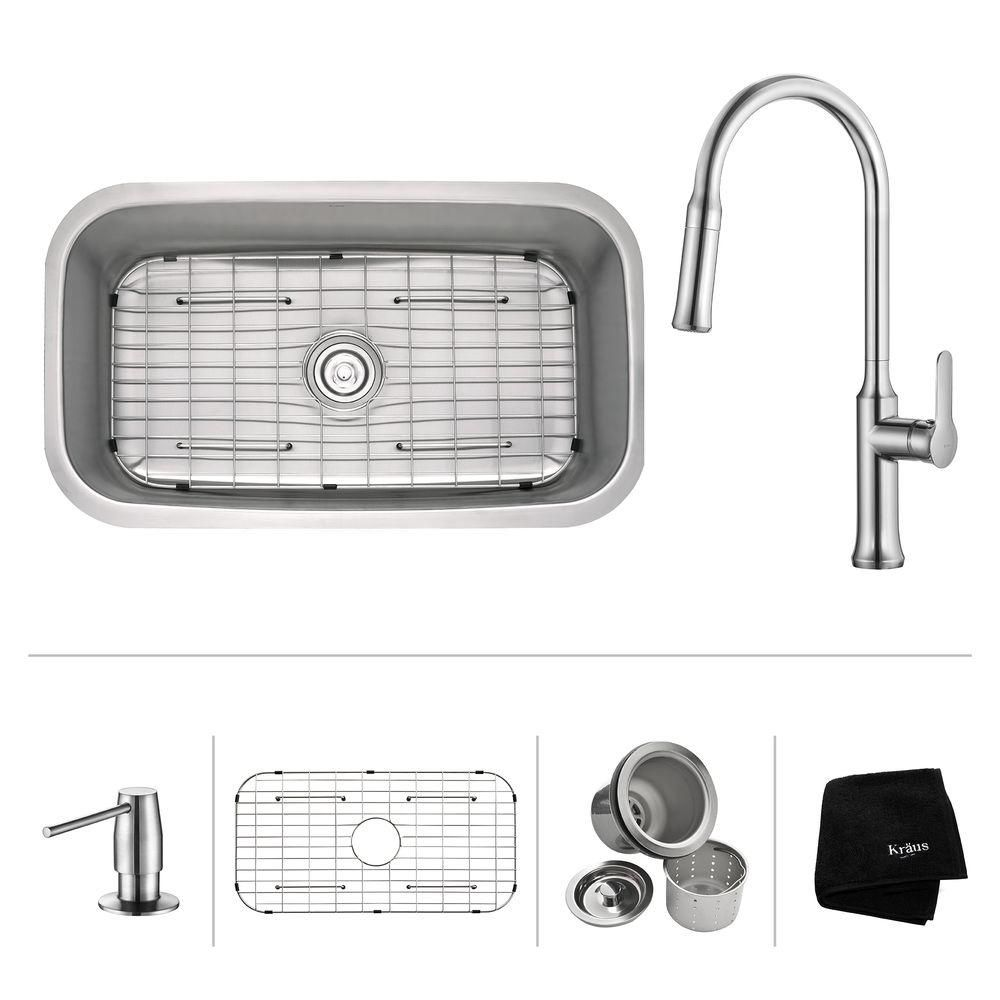 Kraus 31.5 Inch.  Undermount Single Bowl SS Sink W Pull Down Faucet & SD Chrome