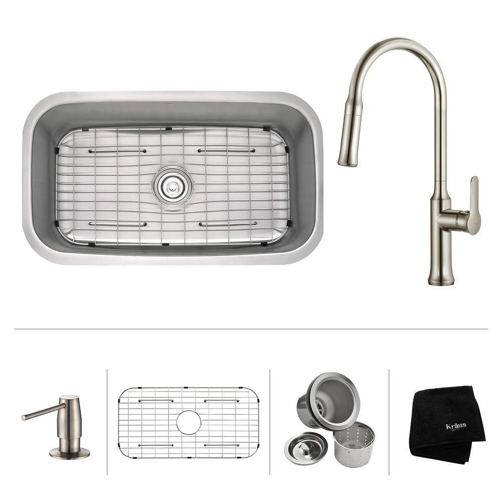 31.5 Inch.  Undermount Single Bowl SS Sink W Pull Down Faucet & SD Stainless Steel