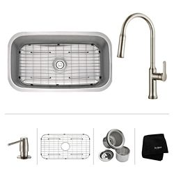 Kraus 31.5 Inch.  Undermount Single Bowl SS Sink W Pull Down Faucet & SD Stainless Steel