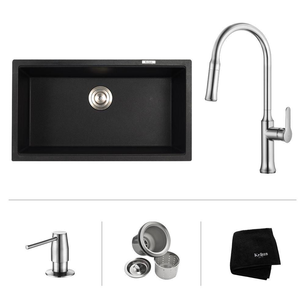 31 Inch.  Undermount Single Bowl Sink W/ Pull Down Faucet & SD Chrome
