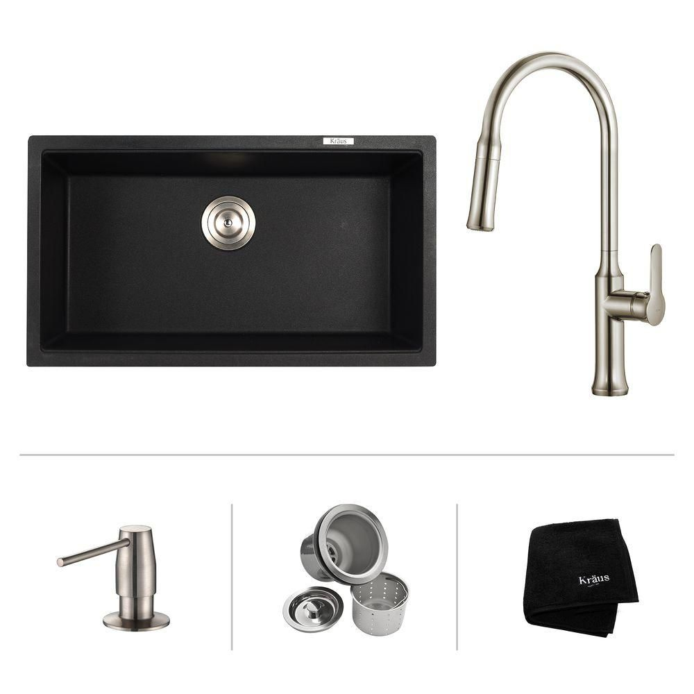 31 Inch.  Undermount Single Bowl Sink W/ Pull Down Faucet & SD Stainless Steel