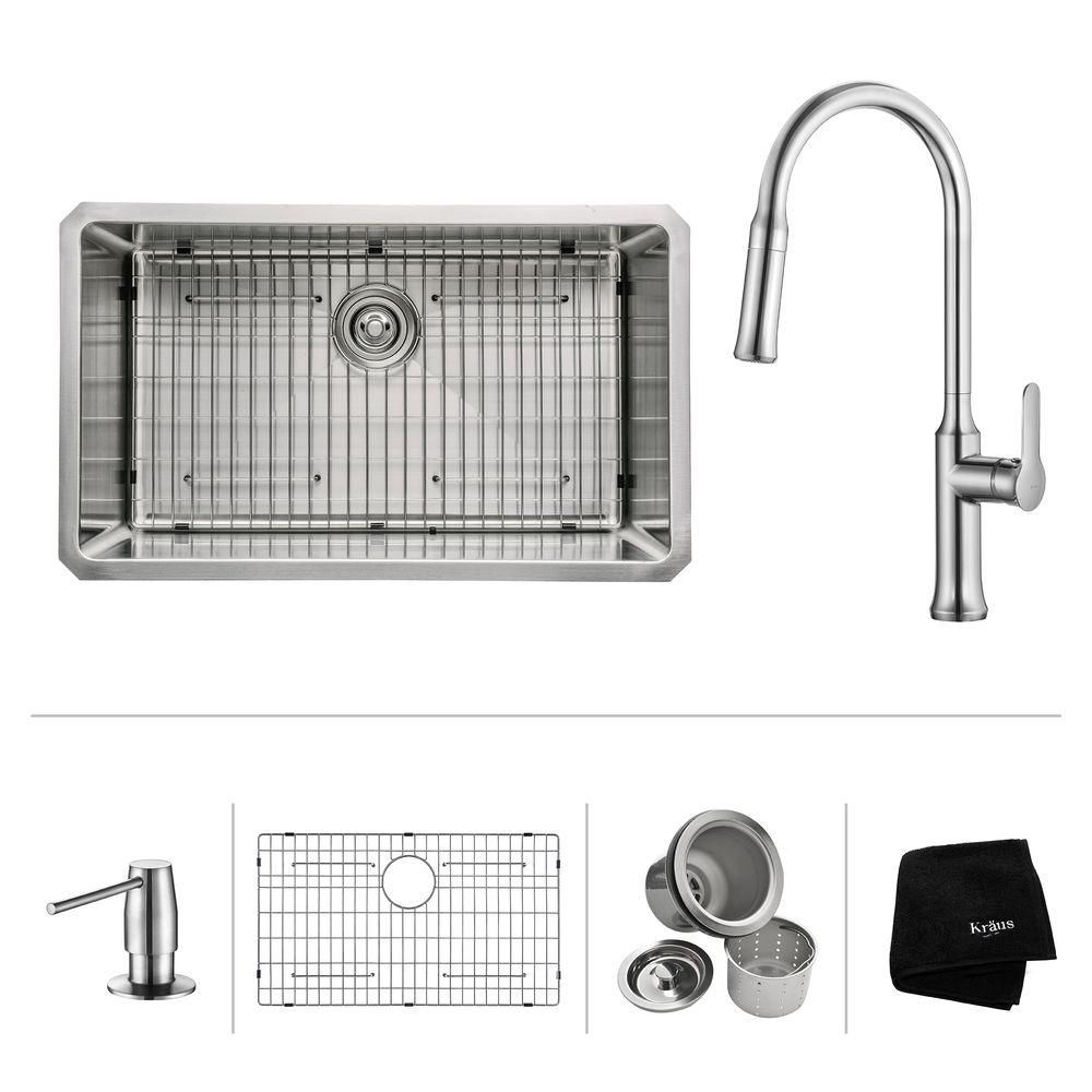 30 Inch.  Undermount Single Bowl SS Sink W/ Pull Down Faucet & SD Chrome