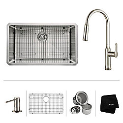 Kraus 30 Inch.  Undermount Single Bowl SS Sink W/ Pull Down Faucet & SD Stainless Steel
