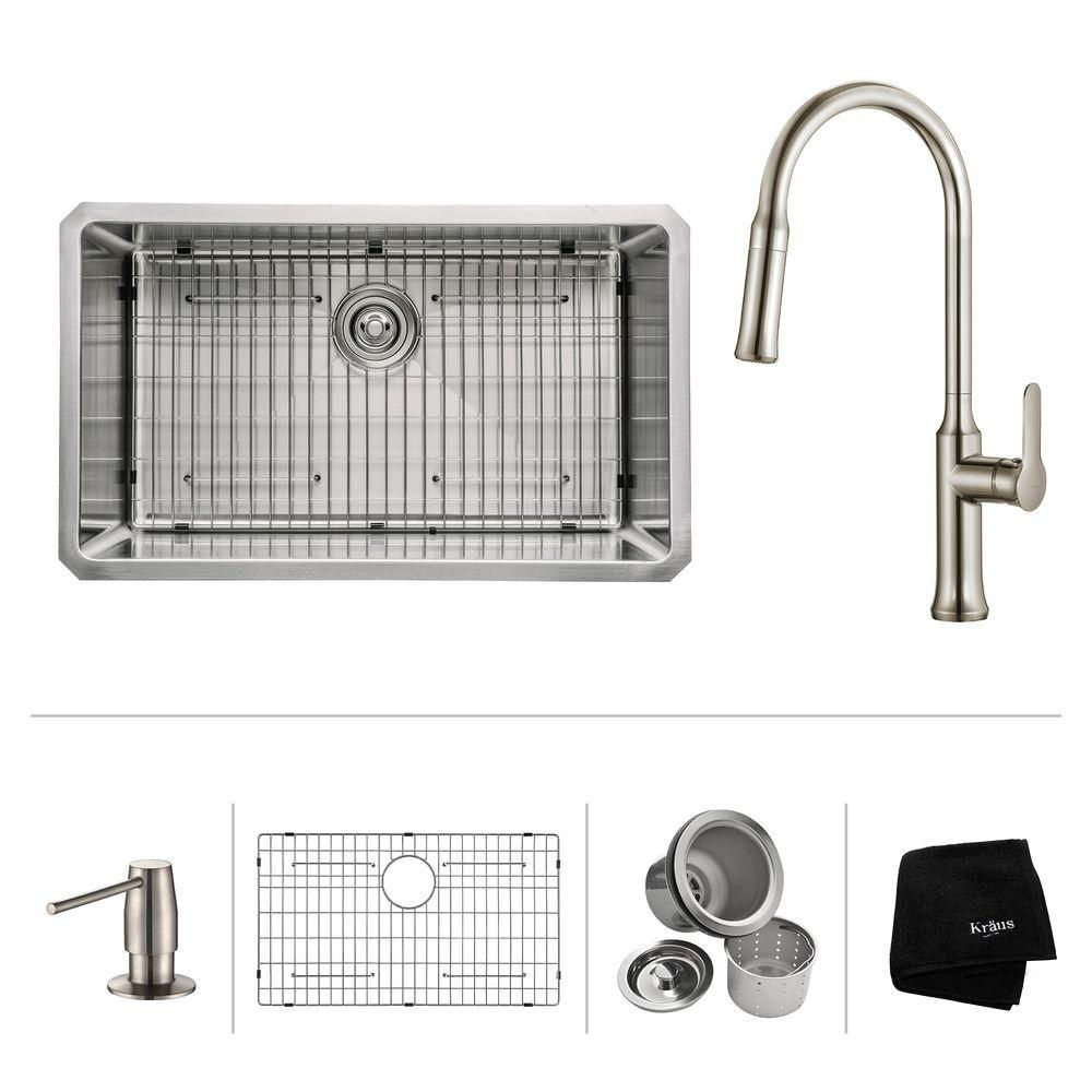 30 Inch.  Undermount Single Bowl SS Sink W/ Pull Down Faucet & SD Stainless Steel