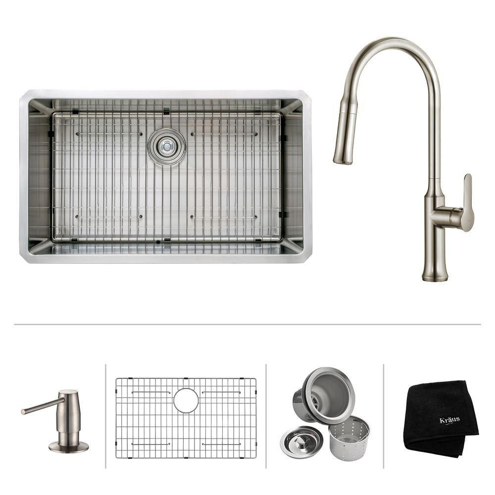 32 Inch.  Undermount Single Bowl SS Sink W/ Pull Down Faucet & SD Stainless Steel