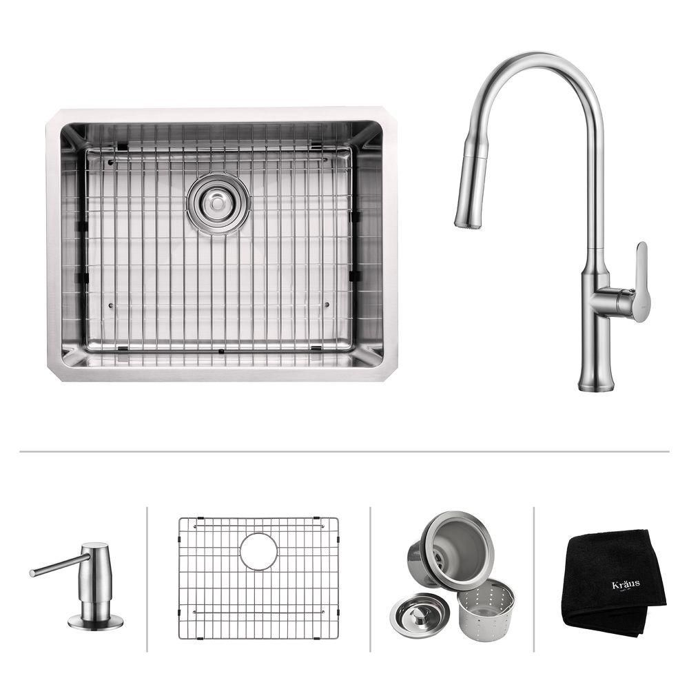 23 Inch. Undermount Single Bowl SS Sink W/ Pull Down Faucet & SD Chrome KHU101-23-1630-42CH in Canada
