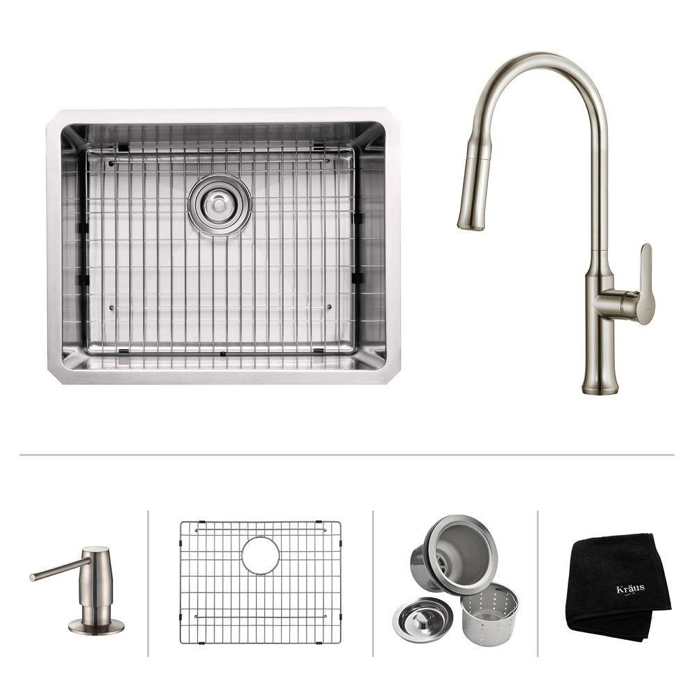 23 Inch.  Undermount Single Bowl SS Sink W/ Pull Down Faucet & SD Stainless Steel