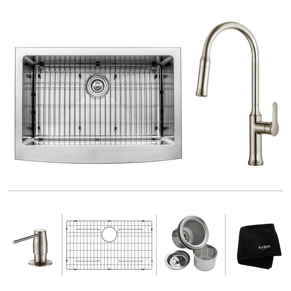 30 Inch.  Apron Front Single Bowl SS Sink W/ Pull Down Faucet & SD Stainless Steel