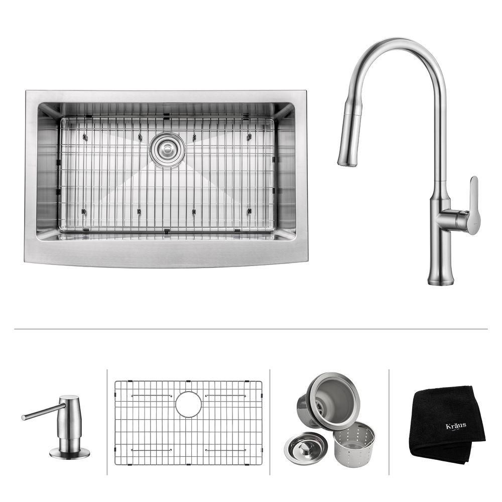 33 Inch.  Apron Front Single Bowl SS Sink W/ Pull Down Faucet & SD Chrome