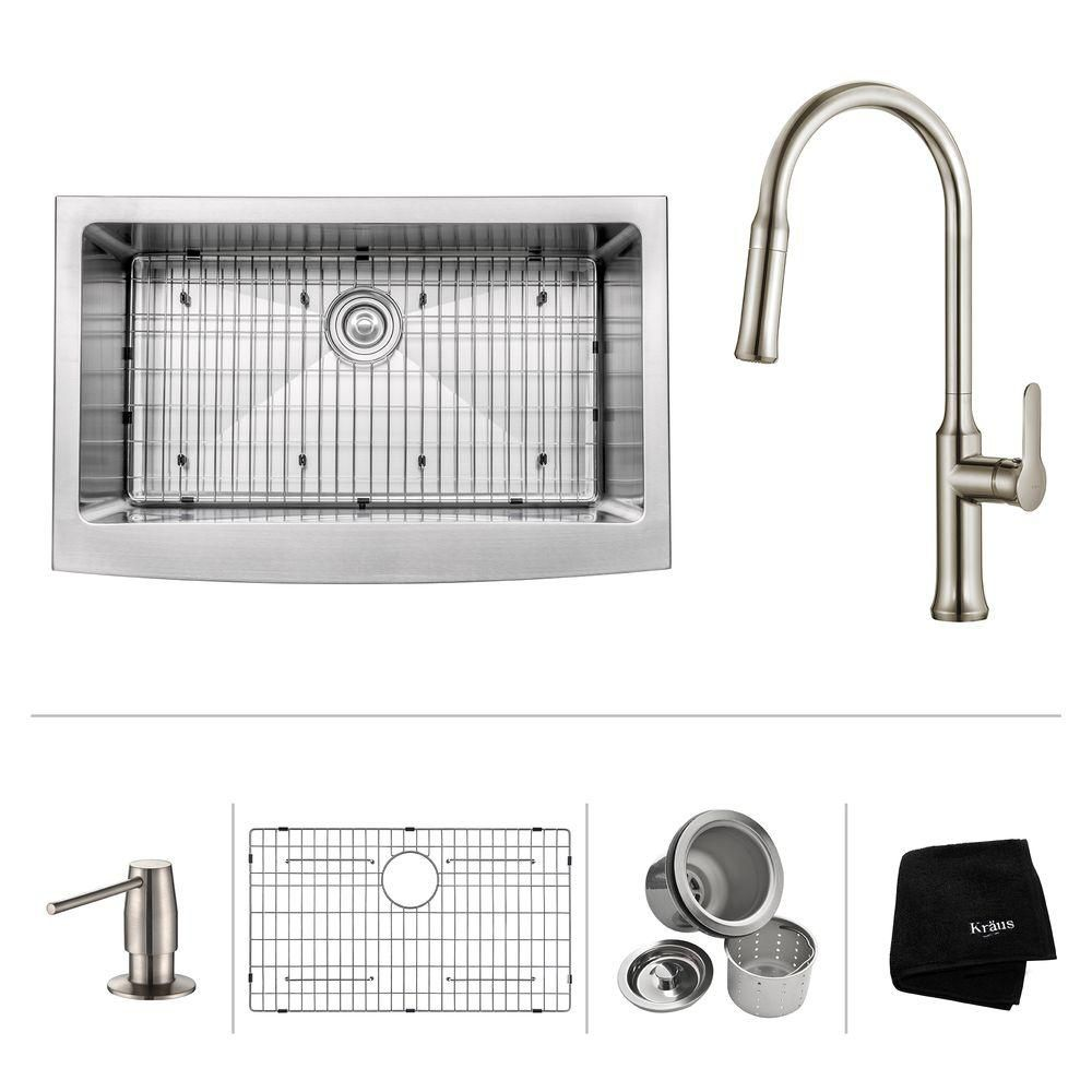 33 Inch.  Apron Front Single Bowl SS Sink W/ Pull Down Faucet & SD Stainless Steel
