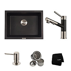 Kraus 24.4 Inch. Dual Mount Single Bowl Sink W/ Pull Out Faucet & SD Stainless Steel