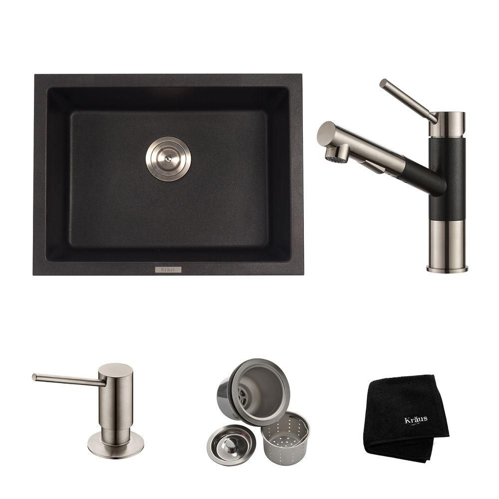 24.4 Inch.  Dual Mount Single Bowl Sink W/ Pull Out Faucet & SD Stainless Steel
