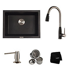 24.4 Inch. Dual Mount Single Bowl Sink W/ Pull Down Faucet & SD Stainless Steel