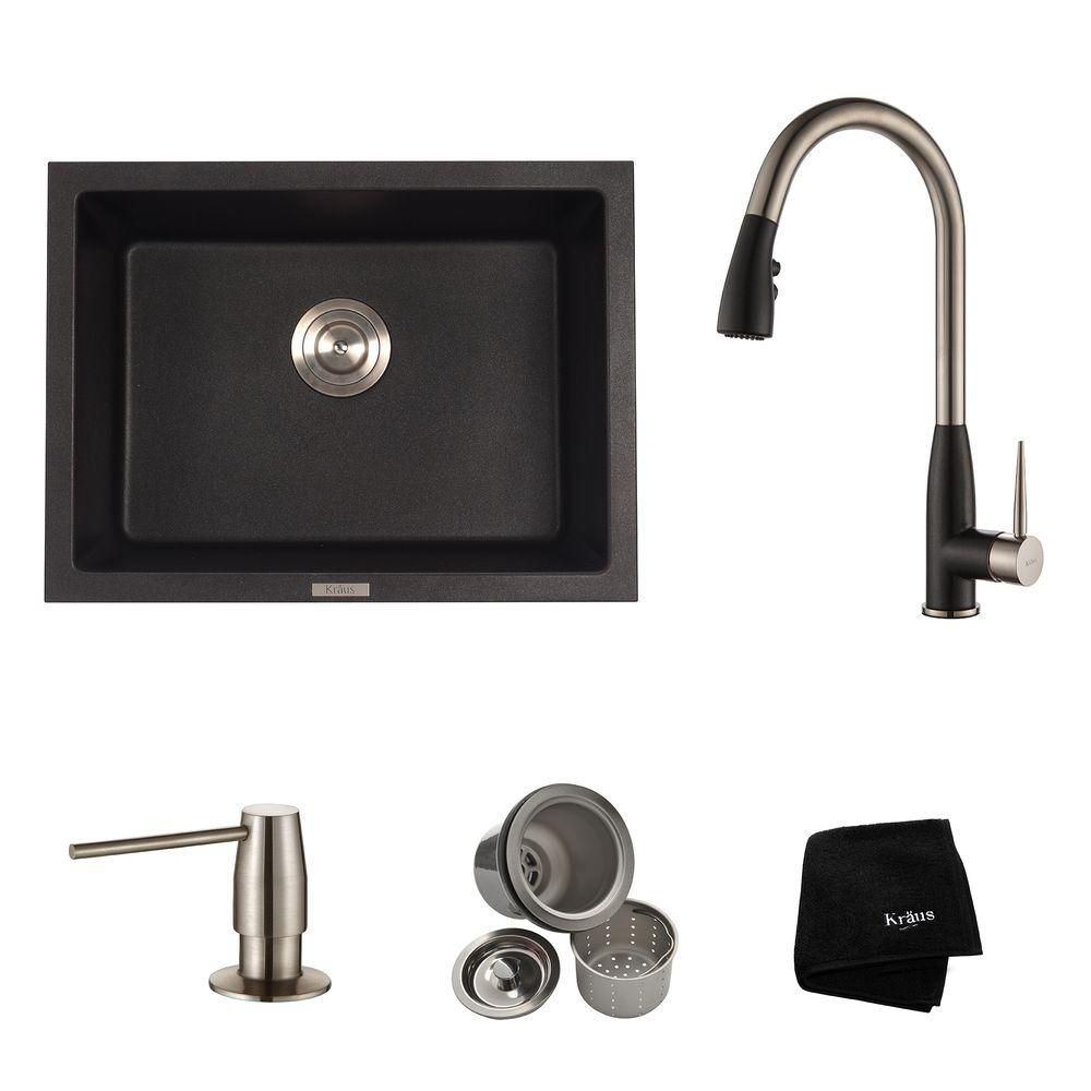 Kraus 24.4 Inch. Dual Mount Single Bowl Sink W/ Pull Down Faucet & SD Stainless Steel