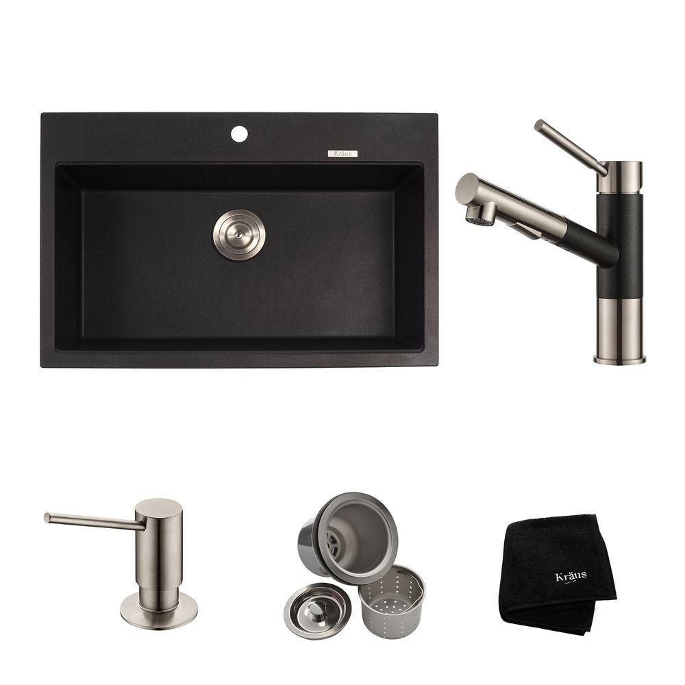 31.2 Inch.  Dual Mount Single Bowl Sink W/ Pull Out Faucet & SD Stainless Steel