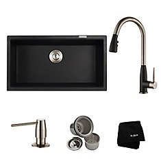 31 Inch. Dual Mount Single Bowl Sink W/ Pull Down Faucet & SD Stainless Steel