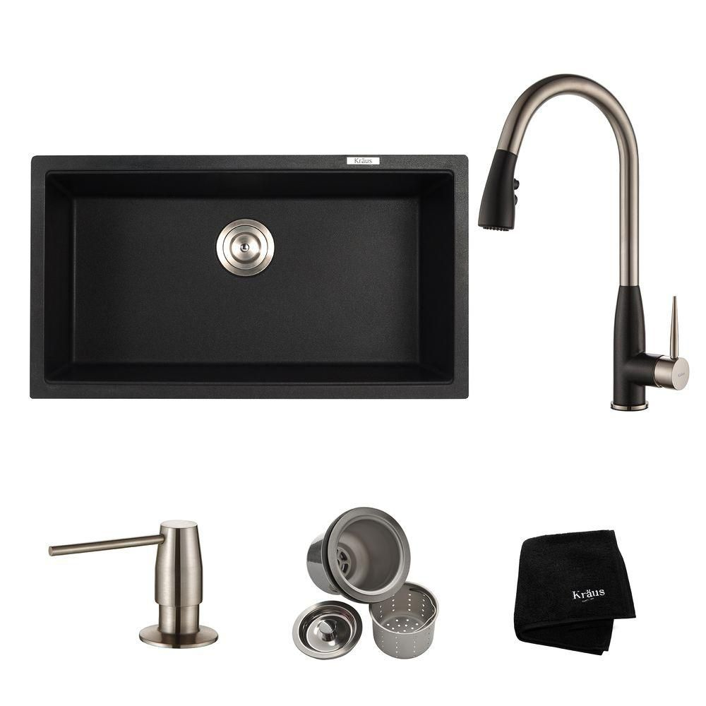 Kraus 31 Inch. Dual Mount Single Bowl Sink W/ Pull Down Faucet & SD Stainless Steel