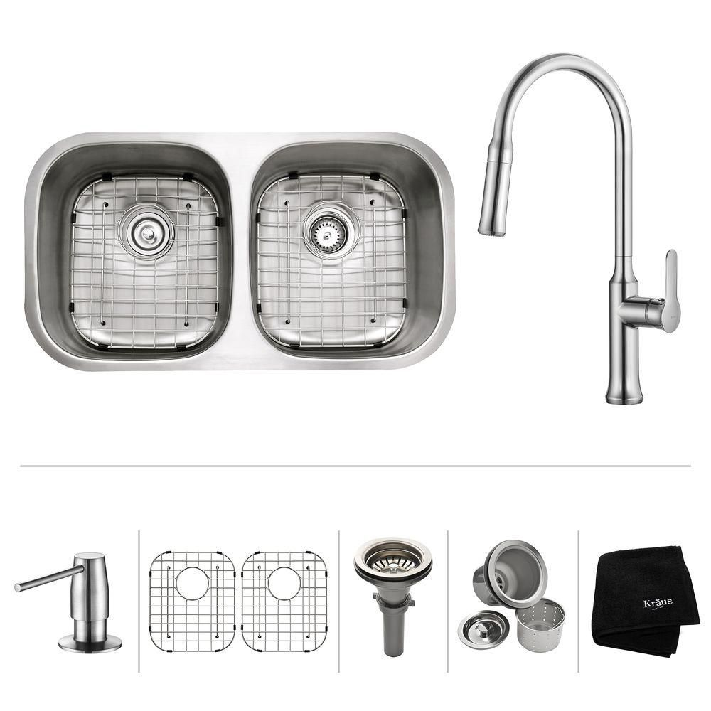 32 Inch.  Undermount 50/50 Double Bowl SS Sink W Pull Down Faucet Chrome